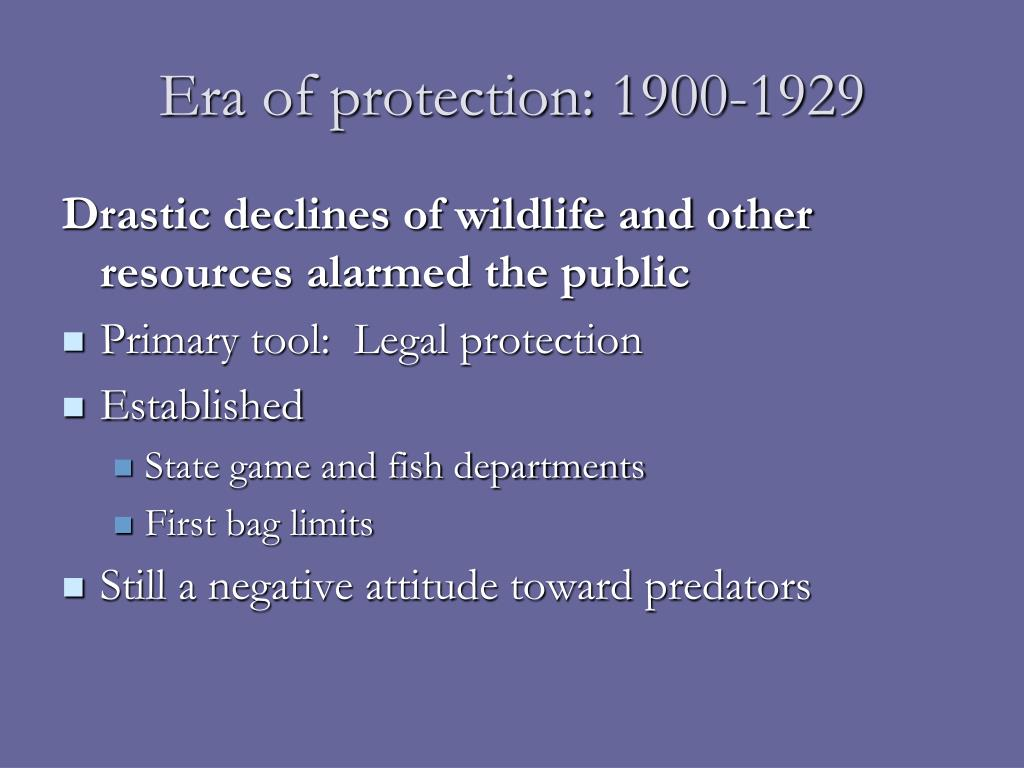 Era of protection: 1900-1929