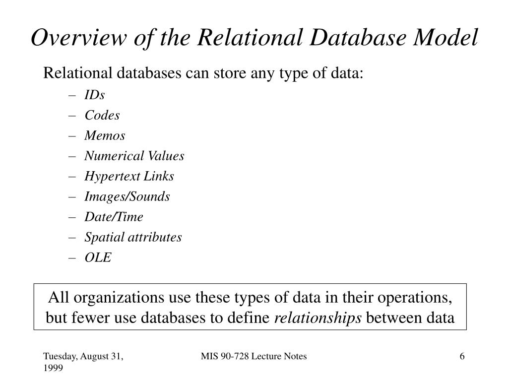 Overview of the Relational Database Model