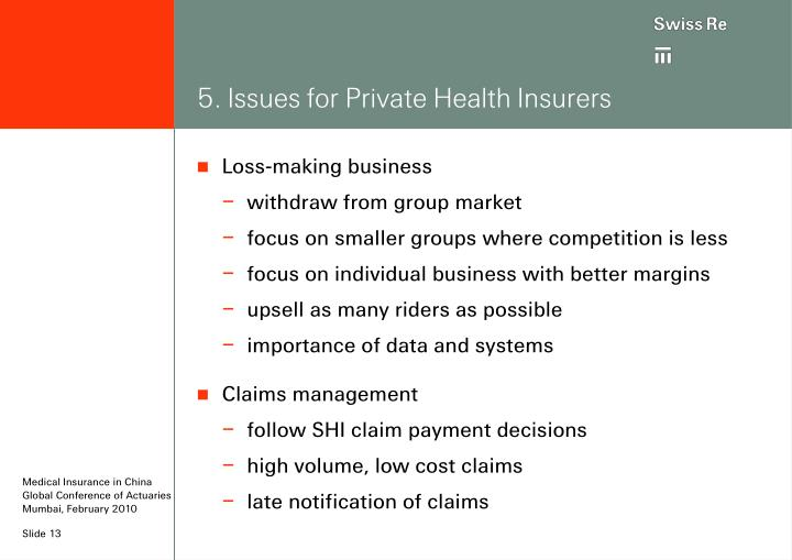 5. Issues for Private Health Insurers