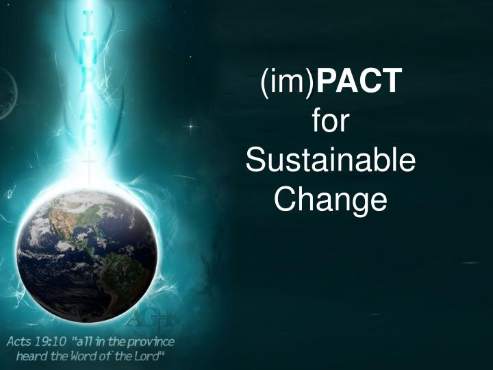 Impact for sustainable change