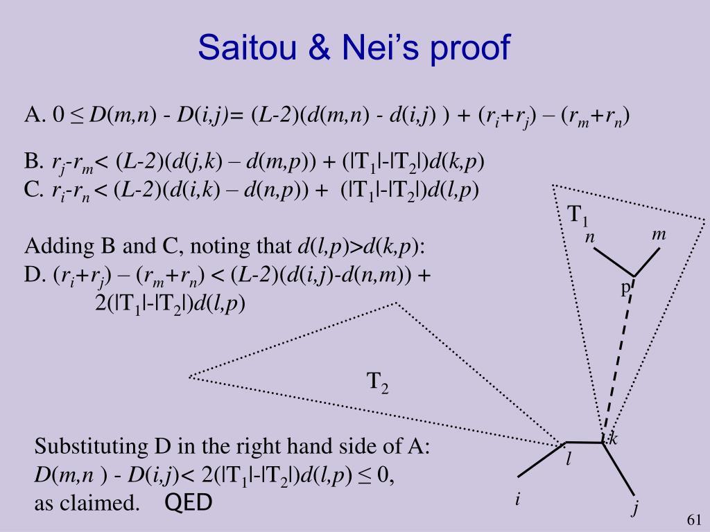 Saitou & Nei's proof