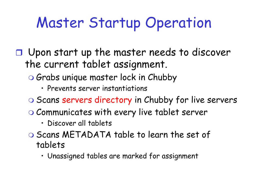 Master Startup Operation