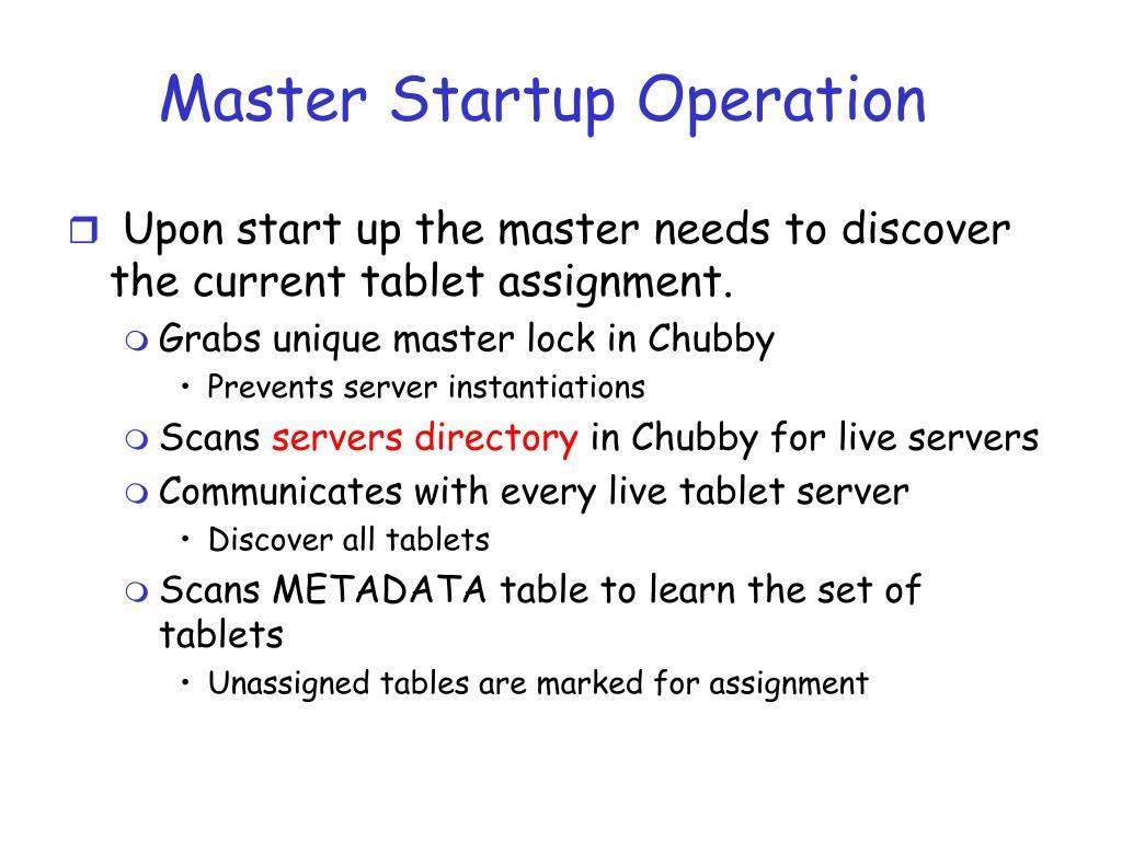 Master Startup Operation