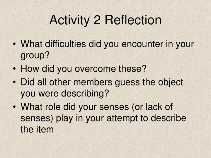 Activity 2 reflection