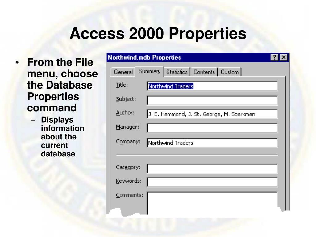 Access 2000 Properties
