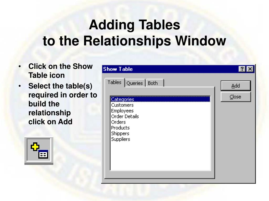 Adding Tables