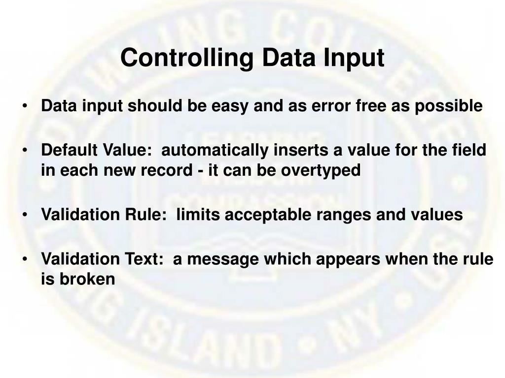 Controlling Data Input