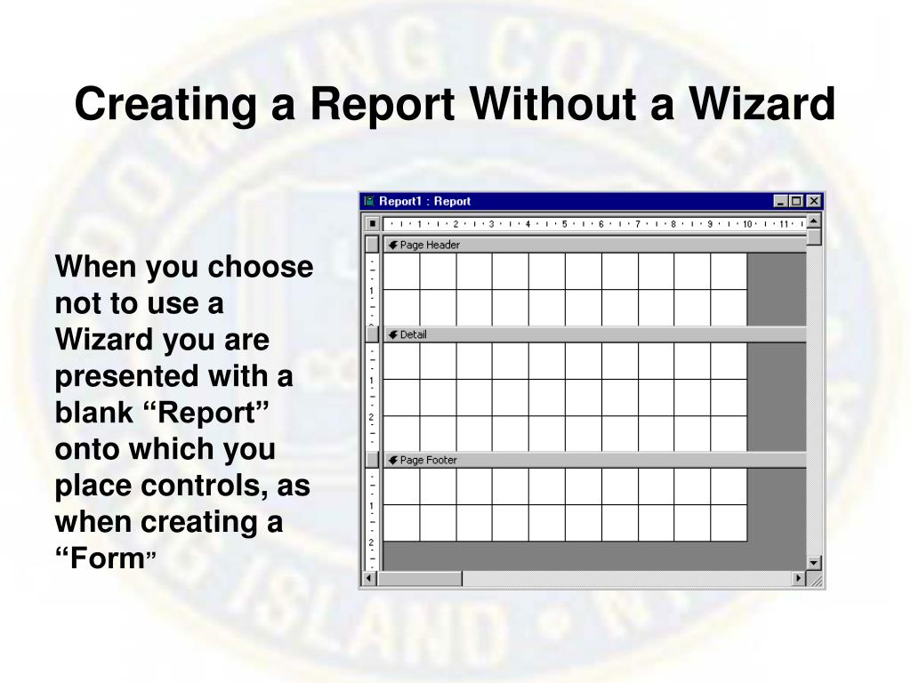 Creating a Report Without a Wizard