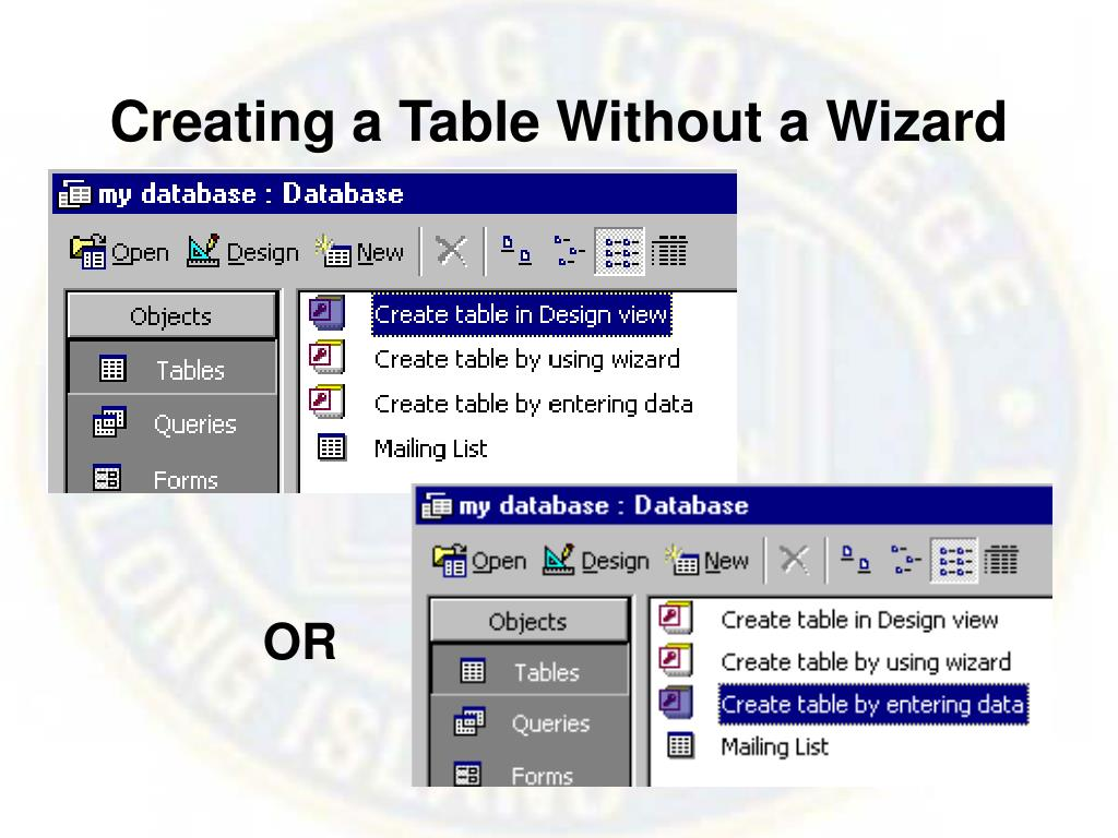 Creating a Table Without a Wizard