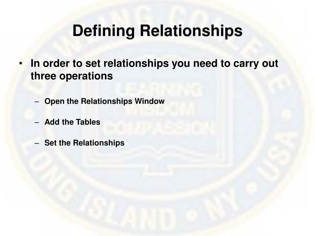 Defining Relationships