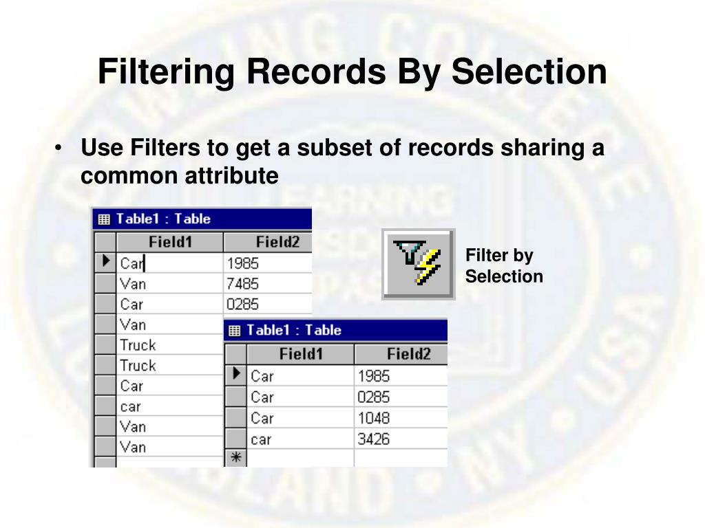 Filtering Records By Selection
