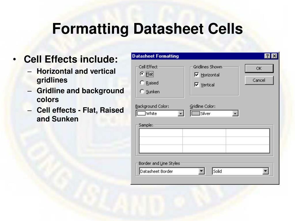 Formatting Datasheet Cells