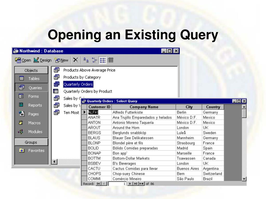 Opening an Existing Query