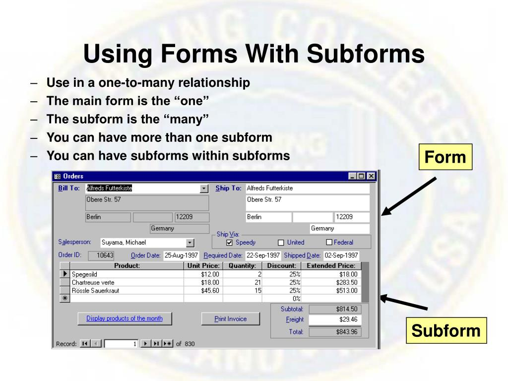 Using Forms With Subforms