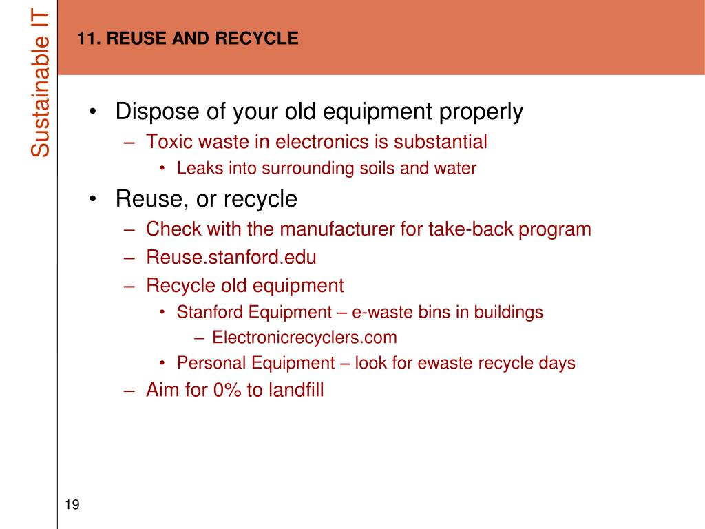 11. REUSE AND RECYCLE