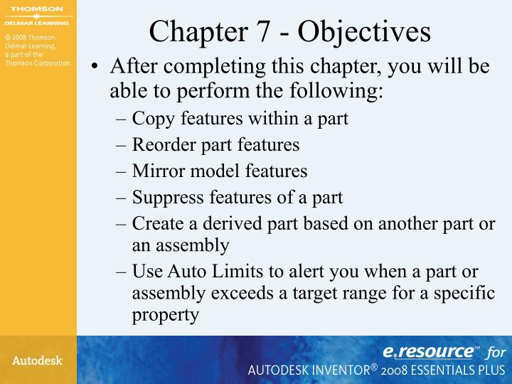 Chapter 7 - Objectives