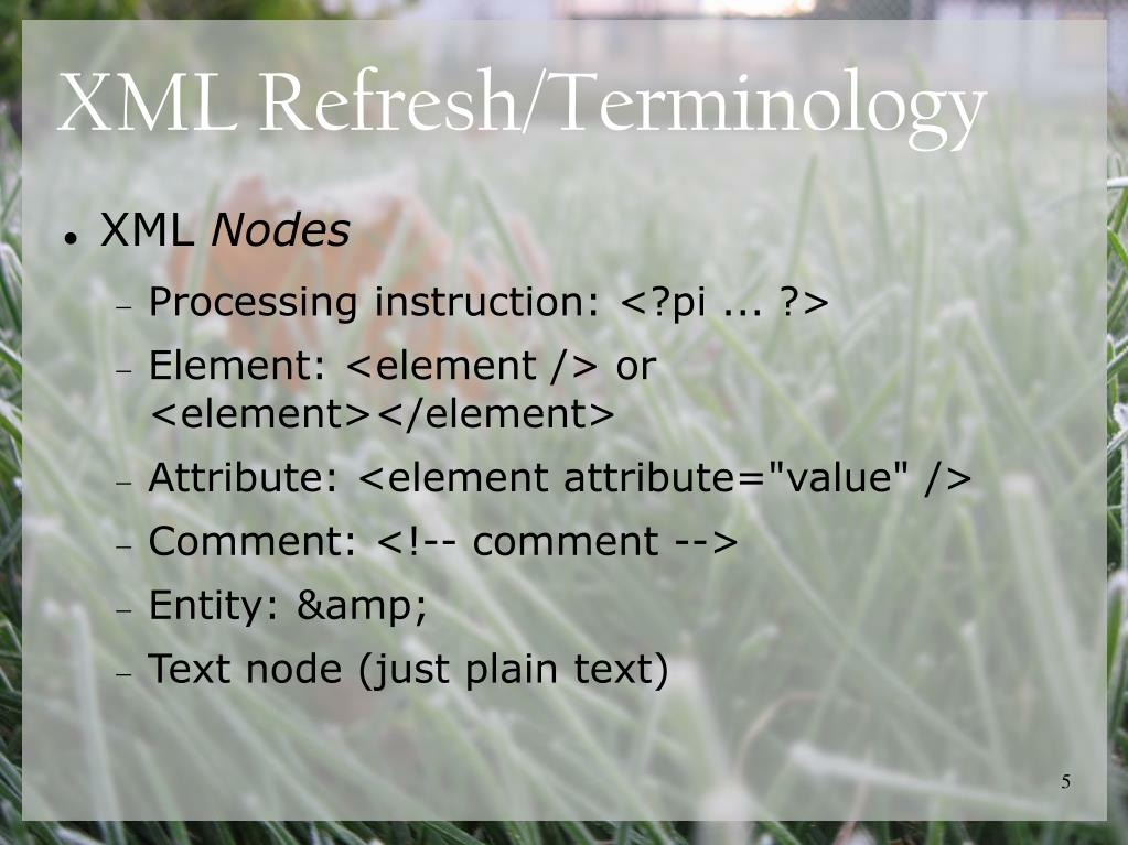 XML Refresh/Terminology
