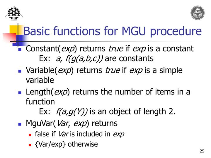 Basic functions for MGU procedure
