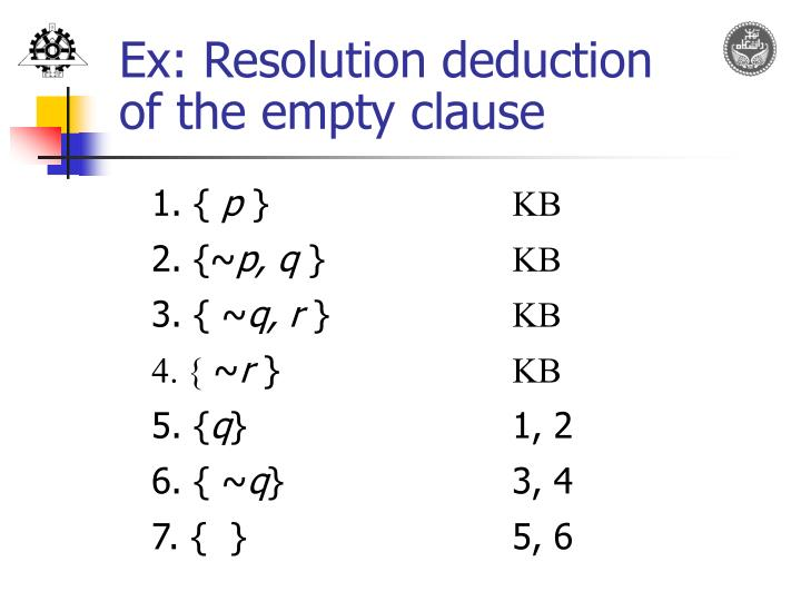 Ex: Resolution deduction
