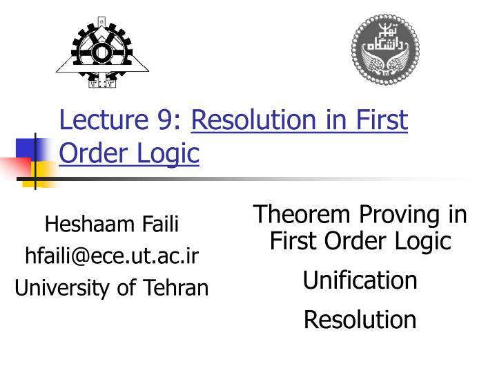 Lecture 9 resolution in first order logic