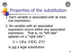 properties of the substitution
