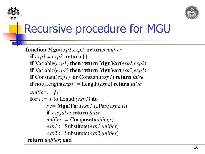 Recursive procedure for MGU