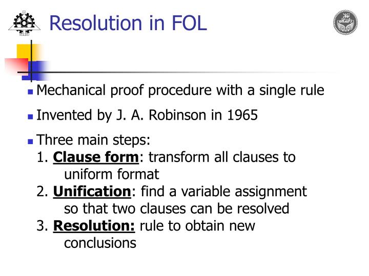 Resolution in FOL