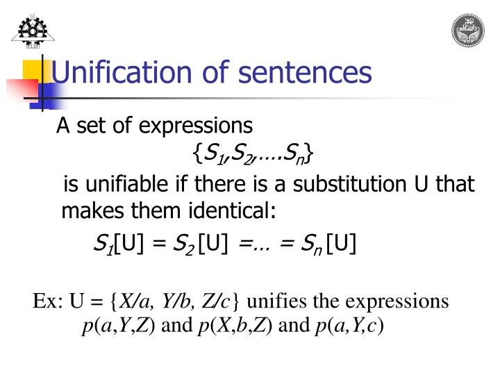 Unification of sentences