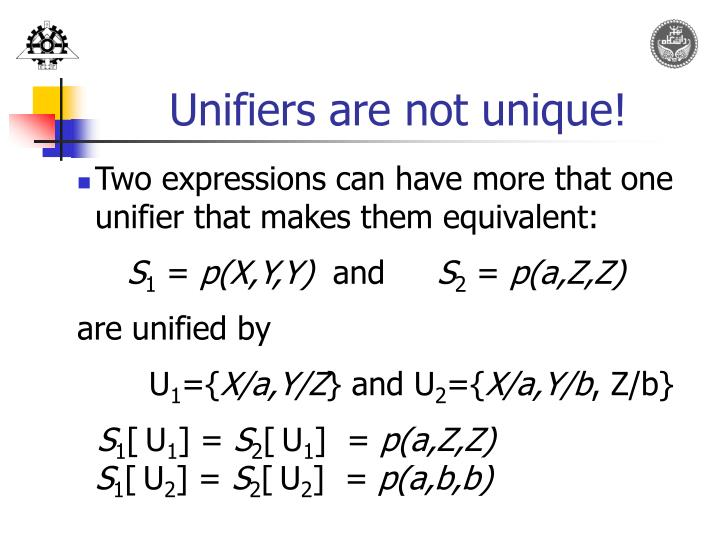 Unifiers are not unique!
