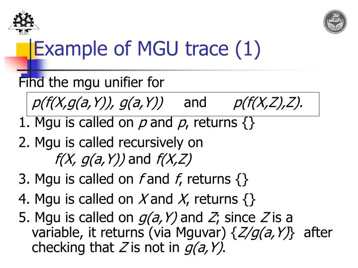 Example of MGU trace (1)