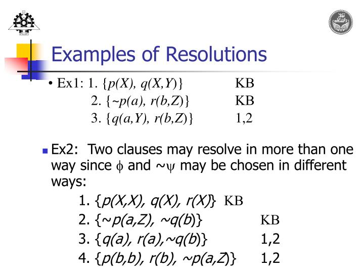 Examples of Resolutions