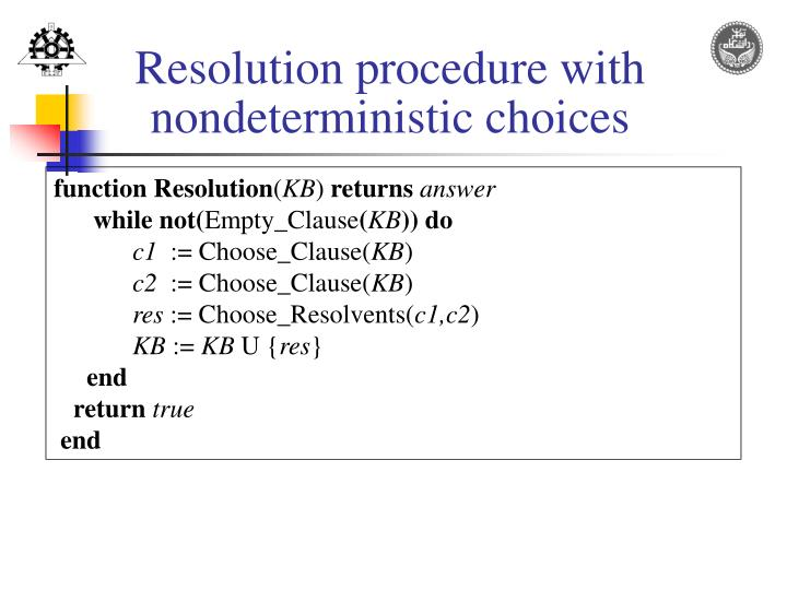 Resolution procedure with
