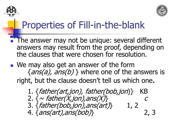 Properties of Fill-in-the-blank