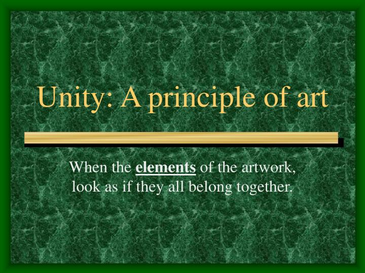Unity a principle of art