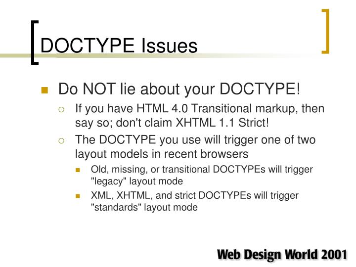 DOCTYPE Issues