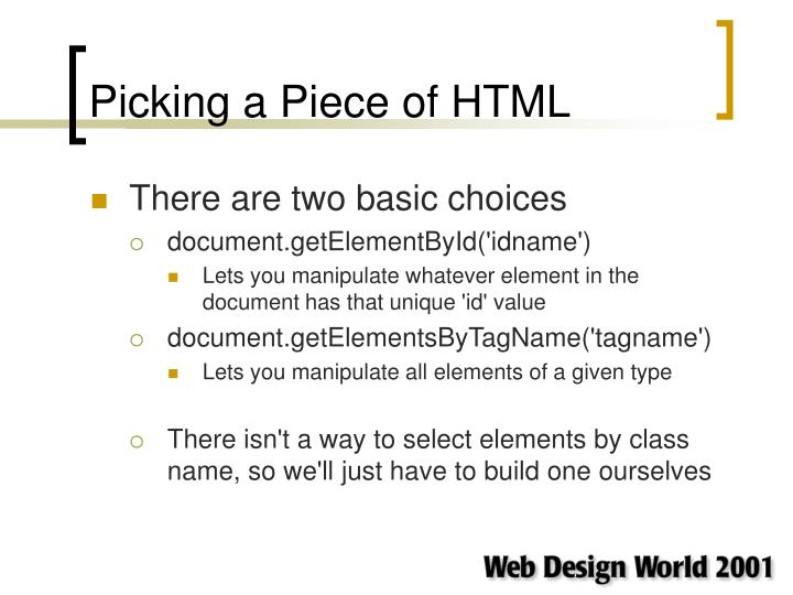 Picking a Piece of HTML