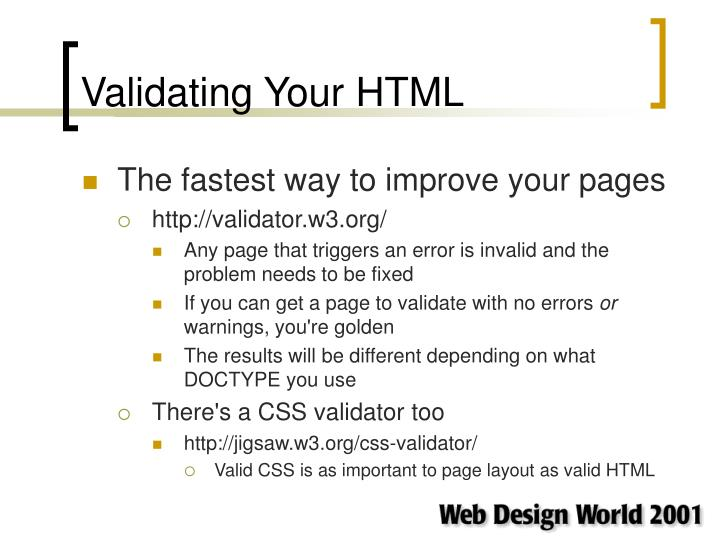 Validating Your HTML