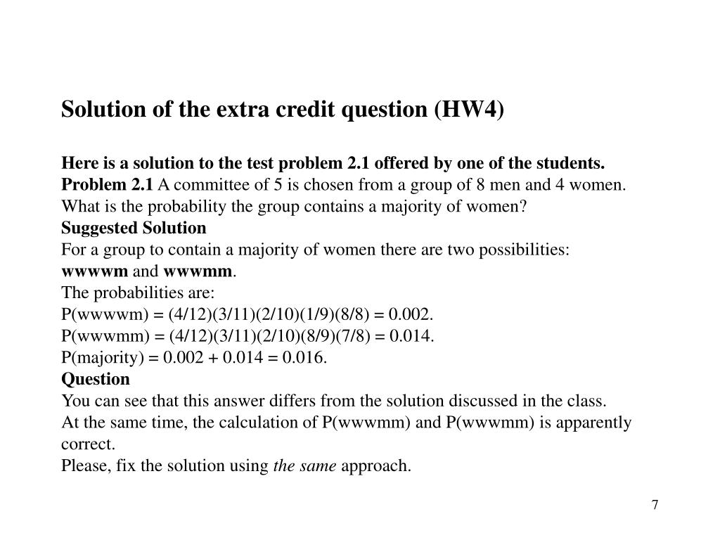 Solution of the extra credit question (HW4)