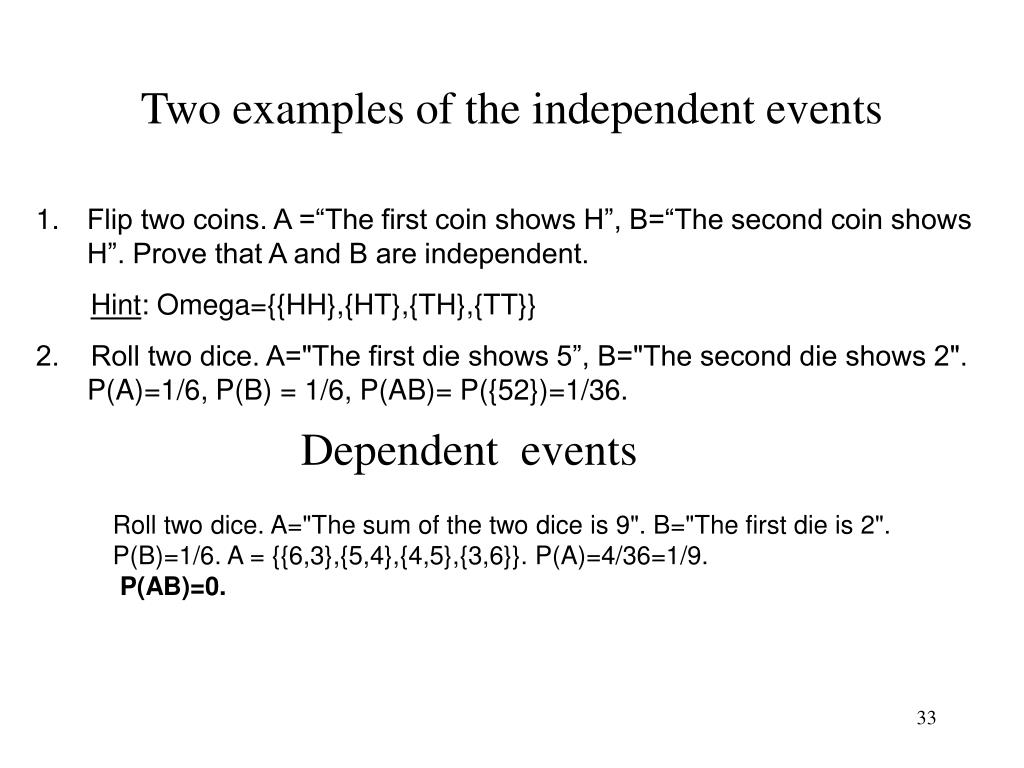 Two examples of the independent events