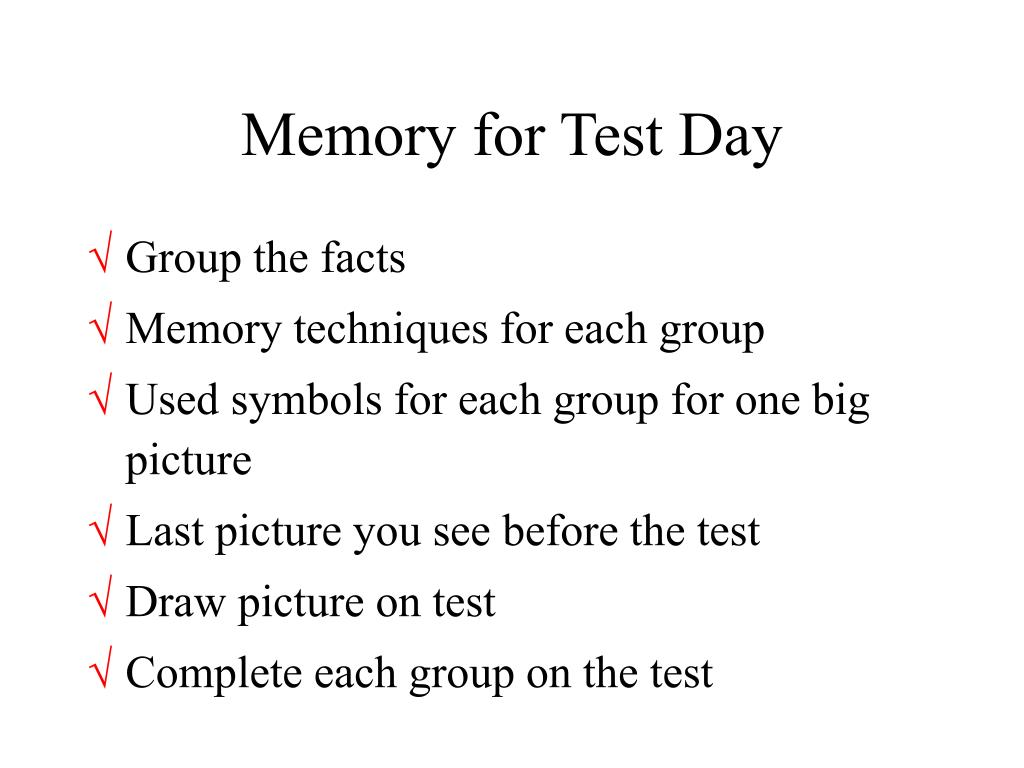 Memory for Test Day