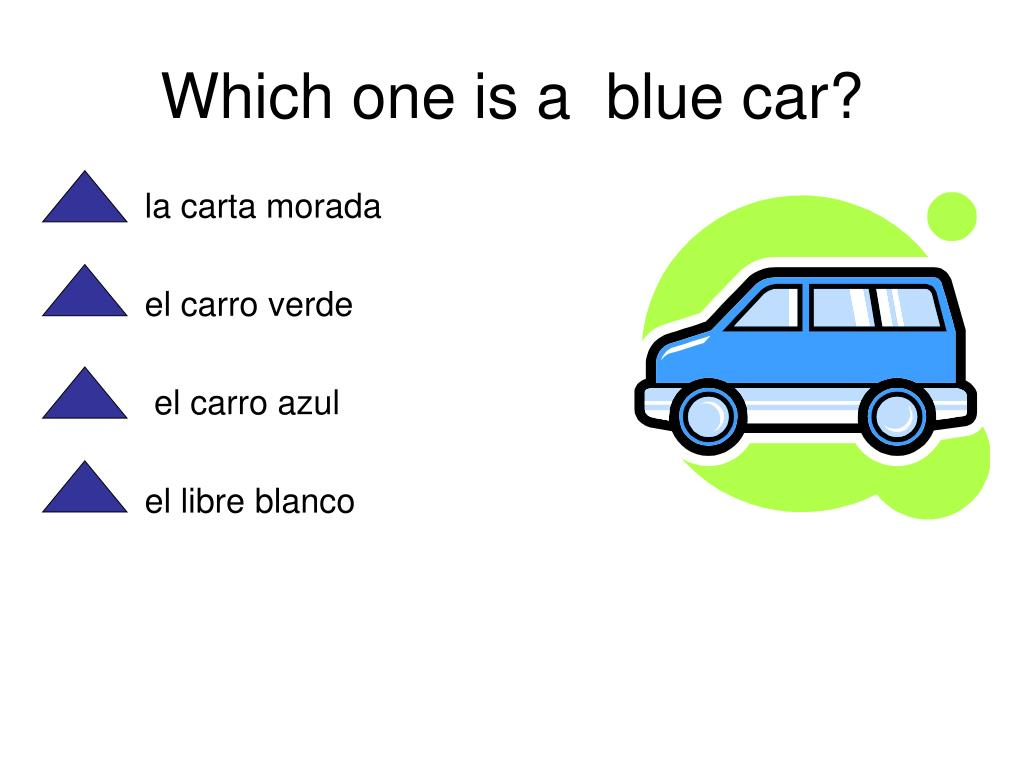Which one is a  blue car?