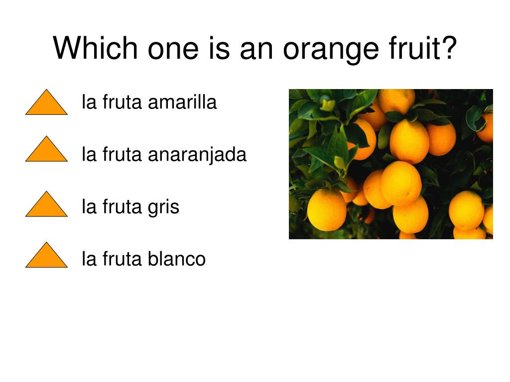 Which one is an orange fruit?