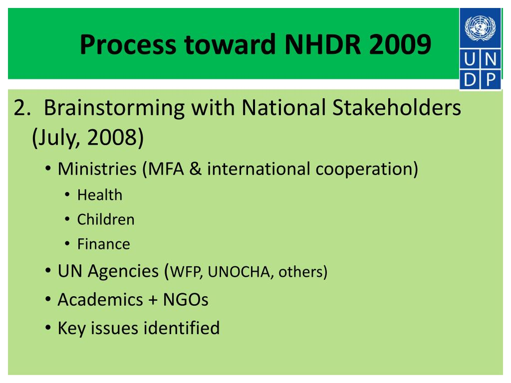 Process toward NHDR 2009