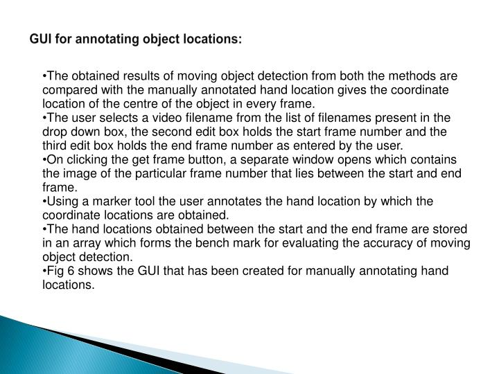 GUI for annotating object locations:
