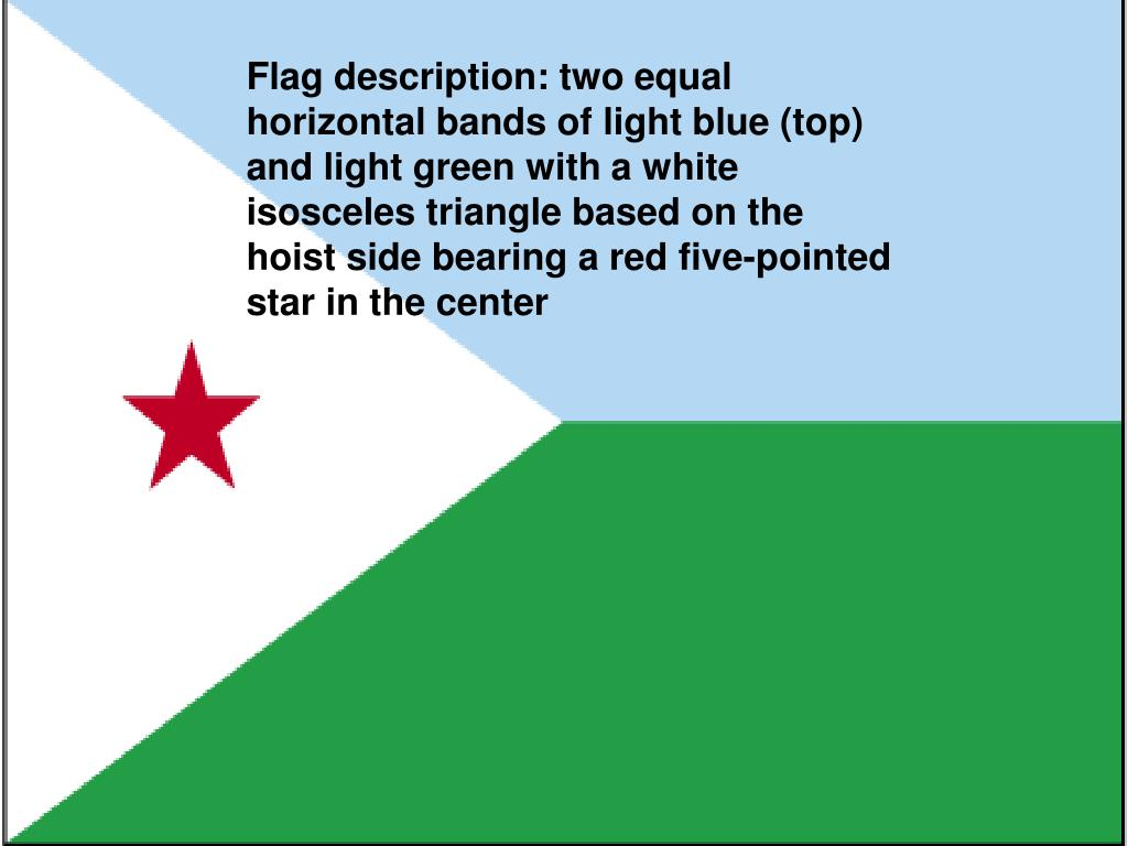 Flag description: two equal horizontal bands of light blue (top) and light green with a white isosceles triangle based on the hoist side bearing a red five-pointed star in the center