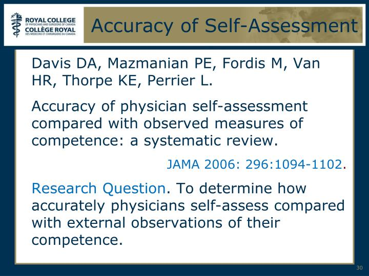 Accuracy of Self-Assessment