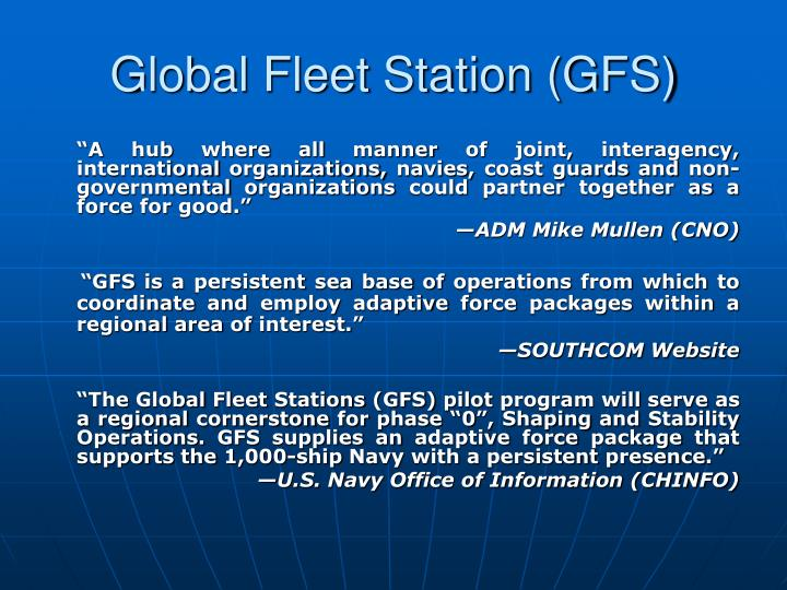 Global Fleet Station (GFS)