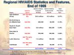 regional hiv aids statistics and features end of 1999