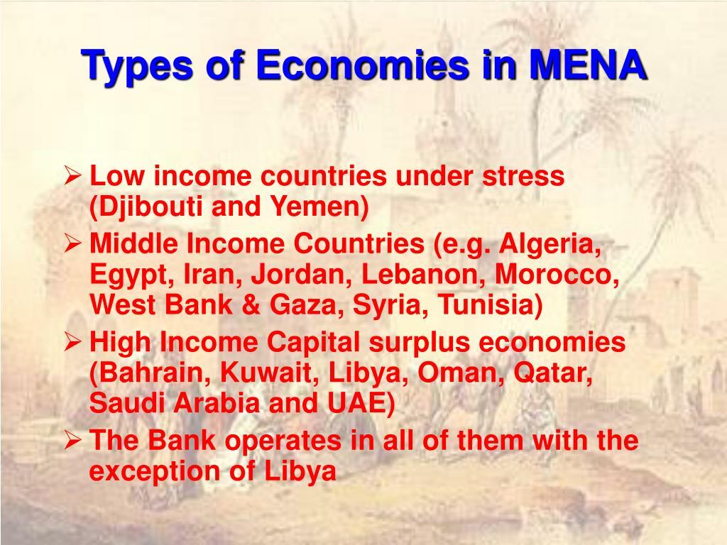 Types of Economies in MENA