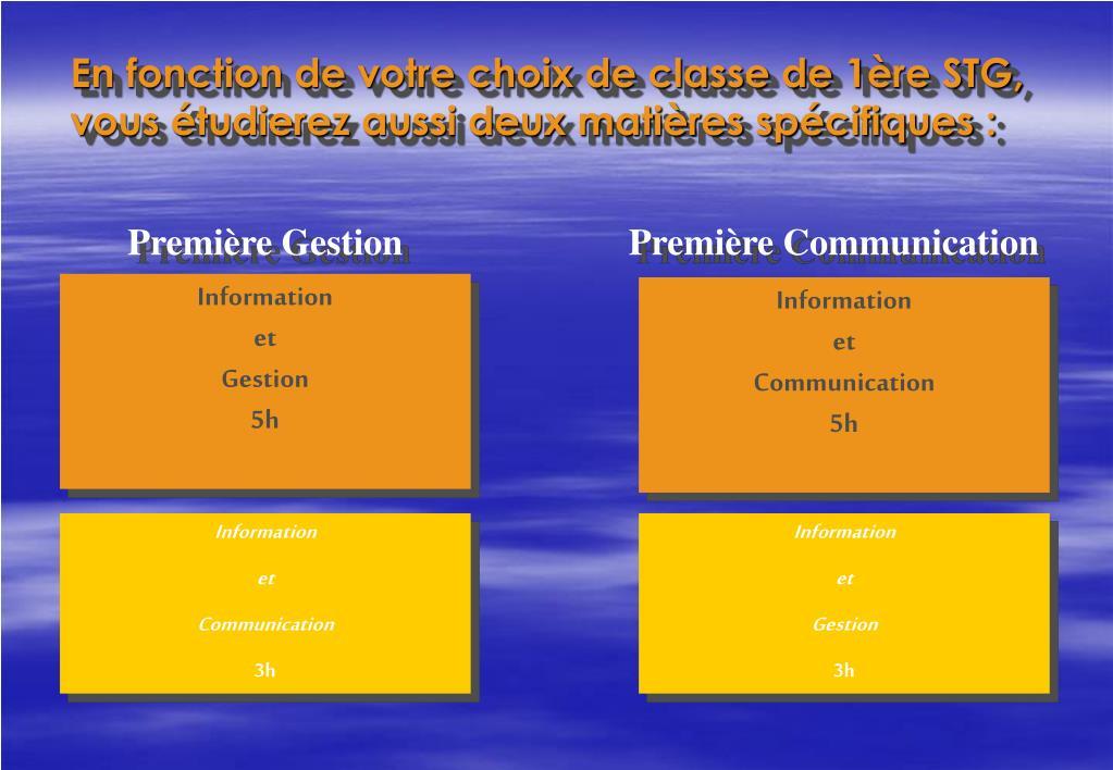 En fonction de votre choix de classe de 1ère STG, vous étudierez aussi deux matières spécifiques :